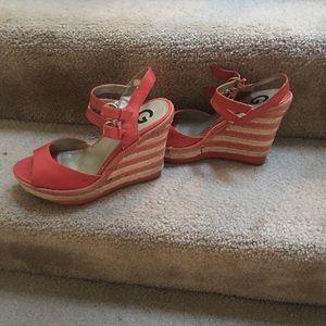 Guess orange wedge heel shoes